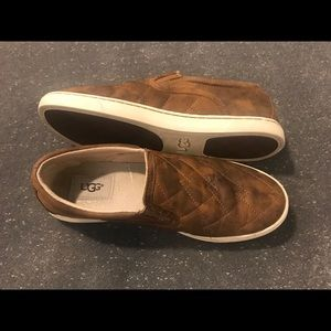 Women's Size 8 UGG Slip Ons Brown Leather